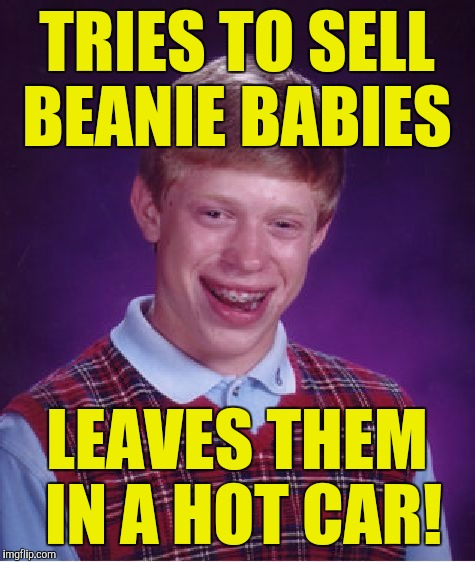Bad Luck Brian Meme | TRIES TO SELL BEANIE BABIES LEAVES THEM IN A HOT CAR! | image tagged in memes,bad luck brian | made w/ Imgflip meme maker