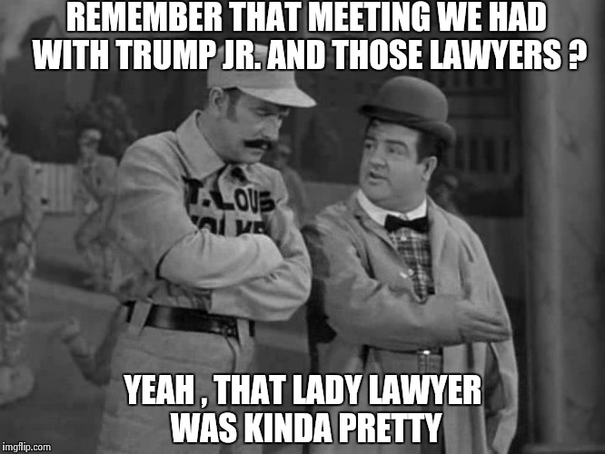 This meeting was not very private | REMEMBER THAT MEETING WE HAD WITH TRUMP JR. AND THOSE LAWYERS ? YEAH , THAT LADY LAWYER WAS KINDA PRETTY | image tagged in abbott and costello,everyone,brian williams was there | made w/ Imgflip meme maker