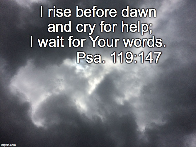 I rise before dawn and cry for help; I wait for Your words. Psa. 119:147 | image tagged in dawn | made w/ Imgflip meme maker