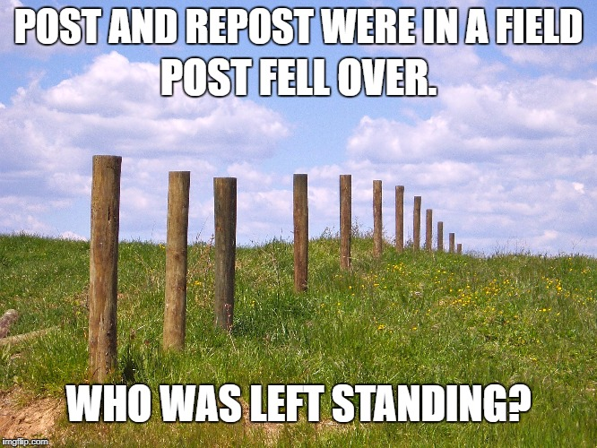 POST AND REPOST WERE IN A FIELD POST FELL OVER. WHO WAS LEFT STANDING? | made w/ Imgflip meme maker