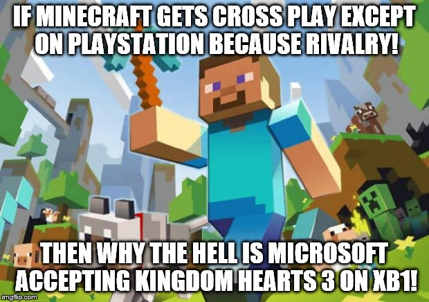 Corporate Video Game Bigotry |  IF MINECRAFT GETS CROSS PLAY EXCEPT ON PLAYSTATION BECAUSE RIVALRY! THEN WHY THE HELL IS MICROSOFT ACCEPTING KINGDOM HEARTS 3 ON XB1! | image tagged in minecraft,kingdom hearts,xbox vs ps4,xbox one,playstation,ps4 | made w/ Imgflip meme maker