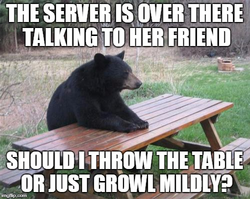 THE SERVER IS OVER THERE TALKING TO HER FRIEND SHOULD I THROW THE TABLE OR JUST GROWL MILDLY? | made w/ Imgflip meme maker