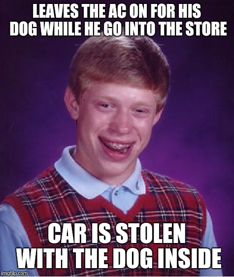 Bad Luck Brian Meme | LEAVES THE AC ON FOR HIS DOG WHILE HE GO INTO THE STORE CAR IS STOLEN WITH THE DOG INSIDE | image tagged in memes,bad luck brian | made w/ Imgflip meme maker