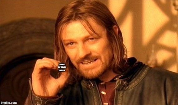 One Does Not Simply Meme | PLEASE WE CAN BE SMALLER | image tagged in memes,one does not simply | made w/ Imgflip meme maker