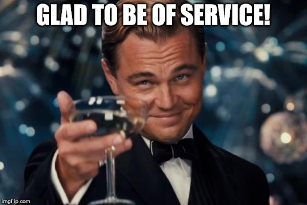 Leonardo Dicaprio Cheers Meme | GLAD TO BE OF SERVICE! | image tagged in memes,leonardo dicaprio cheers | made w/ Imgflip meme maker