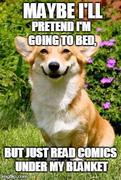 Mischievous Corgi (Maybe I'll) reading comics | PRETEND I'M GOING TO BED, BUT JUST READ COMICS UNDER MY BLANKET | image tagged in mischievous corgi maybe i'll,mischief,corgi,comics,comics/cartoons,comicbooks | made w/ Imgflip meme maker