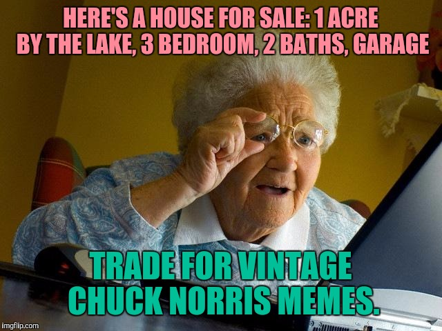 Your Memes Are Worth Something | HERE'S A HOUSE FOR SALE: 1 ACRE BY THE LAKE, 3 BEDROOM, 2 BATHS, GARAGE TRADE FOR VINTAGE CHUCK NORRIS MEMES. | image tagged in memes,grandma finds the internet | made w/ Imgflip meme maker