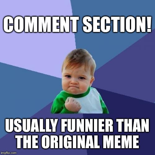 Success Kid Meme | COMMENT SECTION! USUALLY FUNNIER THAN THE ORIGINAL MEME | image tagged in memes,success kid | made w/ Imgflip meme maker