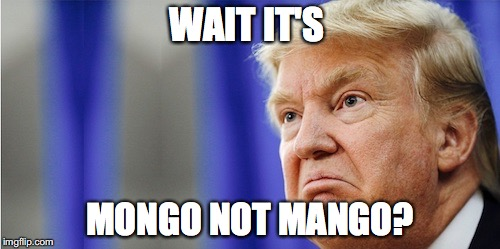 Trump Mad |  WAIT IT'S; MONGO NOT MANGO? | image tagged in trump mad | made w/ Imgflip meme maker