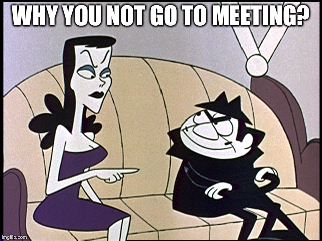 Boris and natasha | WHY YOU NOT GO TO MEETING? | image tagged in boris and natasha | made w/ Imgflip meme maker