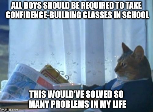I Should Buy A Boat Cat Meme | ALL BOYS SHOULD BE REQUIRED TO TAKE CONFIDENCE-BUILDING CLASSES IN SCHOOL THIS WOULD'VE SOLVED SO MANY PROBLEMS IN MY LIFE | image tagged in memes,i should buy a boat cat | made w/ Imgflip meme maker