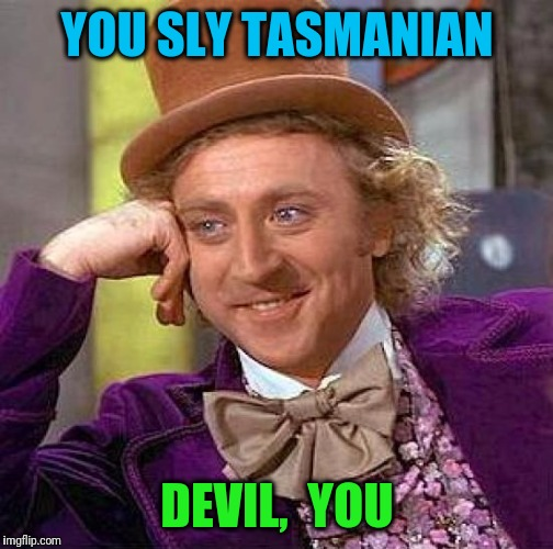 Creepy Condescending Wonka Meme | YOU SLY TASMANIAN DEVIL,  YOU | image tagged in memes,creepy condescending wonka | made w/ Imgflip meme maker