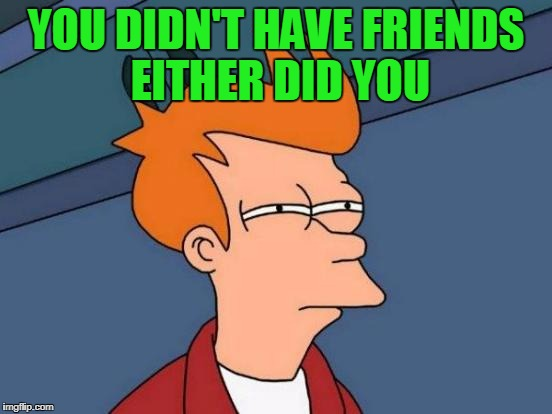 Futurama Fry Meme | YOU DIDN'T HAVE FRIENDS EITHER DID YOU | image tagged in memes,futurama fry | made w/ Imgflip meme maker