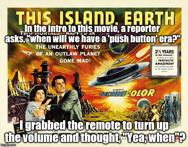 "Beep beep | In the intro to this movie, a reporter asks, ""when will we have a 'push button' era?"" I grabbed the remote to turn up the volume and thought 