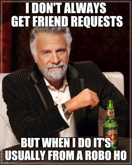 Robo Ho | I DON'T ALWAYS GET FRIEND REQUESTS BUT WHEN I DO IT'S USUALLY FROM A ROBO HO | image tagged in memes,the most interesting man in the world,facebook,scammers | made w/ Imgflip meme maker