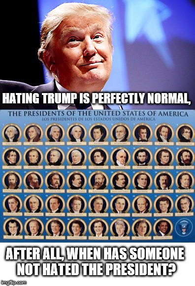 Past and Present Presidents. |  HATING TRUMP IS PERFECTLY NORMAL, AFTER ALL, WHEN HAS SOMEONE NOT HATED THE PRESIDENT? | image tagged in donald trump,past presidents | made w/ Imgflip meme maker