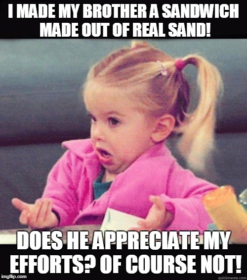 Sandwiches  | I MADE MY BROTHER A SANDWICH MADE OUT OF REAL SAND! DOES HE APPRECIATE MY EFFORTS? OF COURSE NOT! | image tagged in idk girl | made w/ Imgflip meme maker