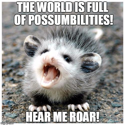 THE WORLD IS FULL OF POSSUMBILITIES! HEAR ME ROAR! | image tagged in baby possum | made w/ Imgflip meme maker