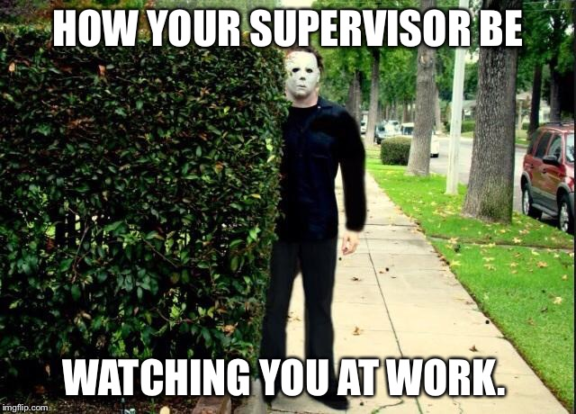 Michael Myers Bush Stalking | HOW YOUR SUPERVISOR BE WATCHING YOU AT WORK. | image tagged in michael myers bush stalking | made w/ Imgflip meme maker