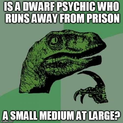 One of the most commonly reposted memes . . . Stolen memes week, an AndrewFinlayson event  | IS A DWARF PSYCHIC WHO RUNS AWAY FROM PRISON A SMALL MEDIUM AT LARGE? | image tagged in memes,philosoraptor,stolen memes week,stolen memes | made w/ Imgflip meme maker