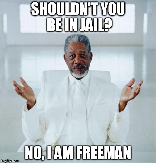 Morgan freeman god | SHOULDN'T YOU BE IN JAIL? NO, I AM FREEMAN | image tagged in morgan freeman god,memes | made w/ Imgflip meme maker