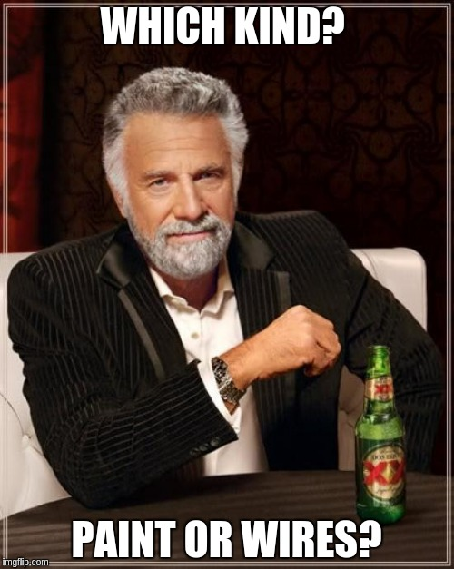 The Most Interesting Man In The World Meme | WHICH KIND? PAINT OR WIRES? | image tagged in memes,the most interesting man in the world | made w/ Imgflip meme maker