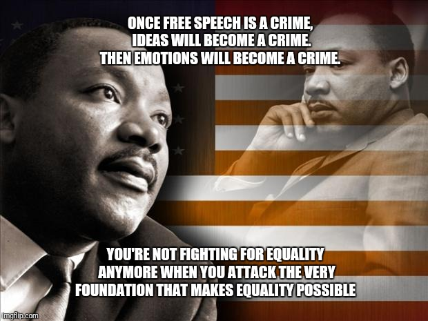 ONCE FREE SPEECH IS A CRIME, IDEAS WILL BECOME A CRIME. THEN EMOTIONS WILL BECOME A CRIME. YOU'RE NOT FIGHTING FOR EQUALITY ANYMORE WHEN YOU | image tagged in mlk | made w/ Imgflip meme maker