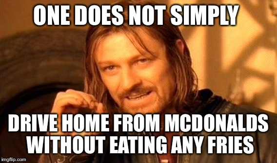 One Does Not Simply Meme | ONE DOES NOT SIMPLY DRIVE HOME FROM MCDONALDS WITHOUT EATING ANY FRIES | image tagged in memes,one does not simply | made w/ Imgflip meme maker