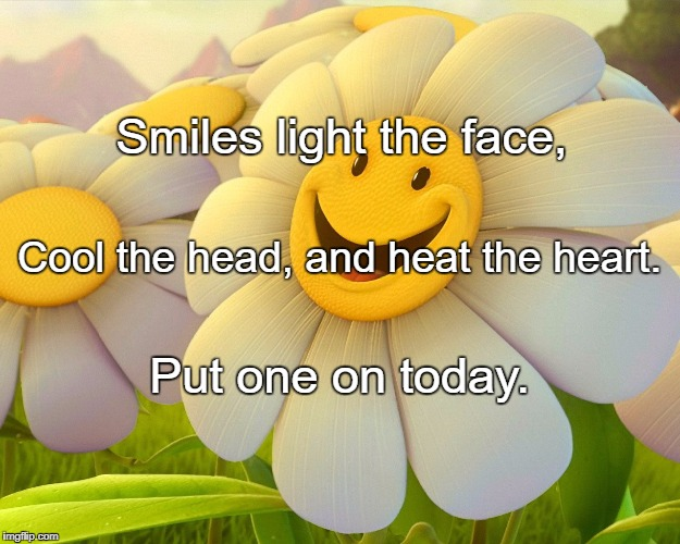 Smiles light the face, Put one on today. Cool the head, and heat the heart. | image tagged in smiley flower | made w/ Imgflip meme maker