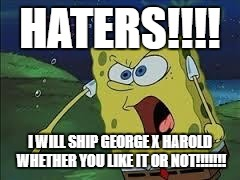 me in a nutshell | HATERS!!!! I WILL SHIP GEORGE X HAROLD WHETHER YOU LIKE IT OR NOT!!!!!!! | image tagged in spongebob screaming | made w/ Imgflip meme maker