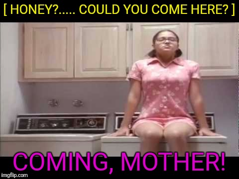 [ HONEY?..... COULD YOU COME HERE? ] COMING, MOTHER! | made w/ Imgflip meme maker