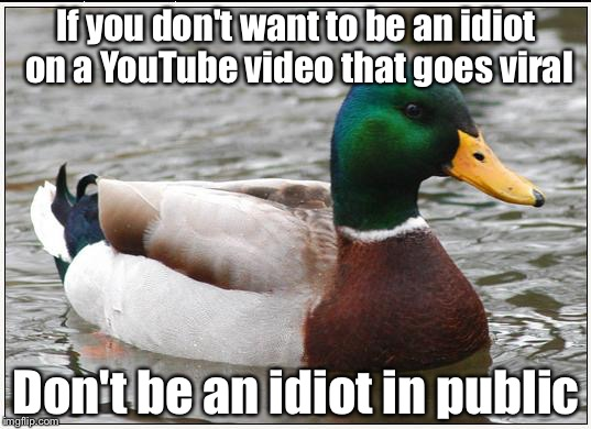 Video cameras! Video cameras everywhere! | If you don't want to be an idiot on a YouTube video that goes viral Don't be an idiot in public | image tagged in memes,actual advice mallard,youtube,viral video,idiot | made w/ Imgflip meme maker