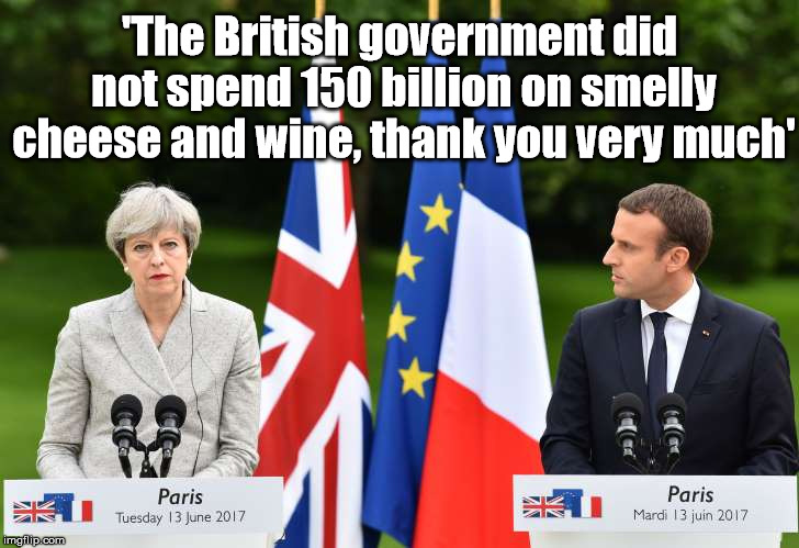 cheese | 'The British government did not spend 150 billion on smelly cheese and wine, thank you very much' | image tagged in brexit,theresamay,eu,funny,france,memes | made w/ Imgflip meme maker