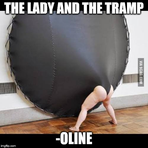 trampoline | THE LADY AND THE TRAMP -OLINE | image tagged in trampoline | made w/ Imgflip meme maker