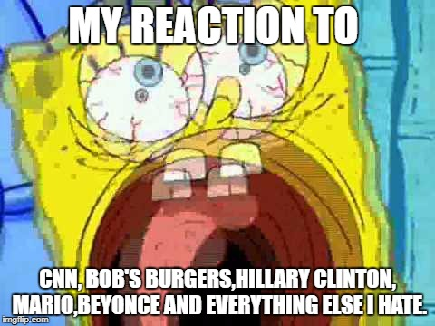 le reaction | MY REACTION TO CNN, BOB'S BURGERS,HILLARY CLINTON, MARIO,BEYONCE AND EVERYTHING ELSE I HATE. | image tagged in spongebob screaming | made w/ Imgflip meme maker