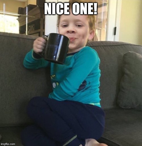 Mixed cup | NICE ONE! | image tagged in mixed cup | made w/ Imgflip meme maker