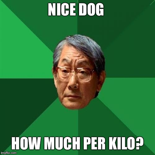 High Expectations Asian Father Meme |  NICE DOG; HOW MUCH PER KILO? | image tagged in memes,high expectations asian father | made w/ Imgflip meme maker