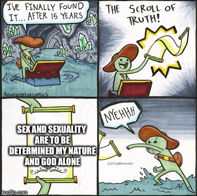 The Scroll Of Truth Meme | SEX AND SEXUALITY ARE TO BE DETERMINED MY NATURE AND GOD ALONE | image tagged in the scroll of truth | made w/ Imgflip meme maker