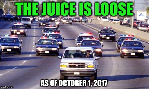 Do you think he should be paroled? | THE JUICE IS LOOSE AS OF OCTOBER 1, 2017 | image tagged in bronco chase,oj simpson,parole | made w/ Imgflip meme maker