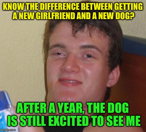 And bingo was his name  | KNOW THE DIFFERENCE BETWEEN GETTING A NEW GIRLFRIEND AND A NEW DOG? AFTER A YEAR, THE DOG IS STILL EXCITED TO SEE ME | image tagged in memes,10 guy,funny | made w/ Imgflip meme maker