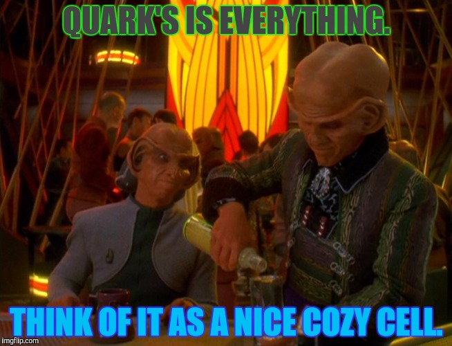QUARK'S IS EVERYTHING. THINK OF IT AS A NICE COZY CELL. | made w/ Imgflip meme maker