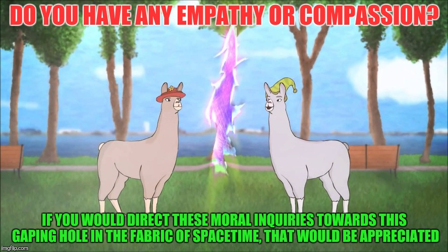 DO YOU HAVE ANY EMPATHY OR COMPASSION? IF YOU WOULD DIRECT THESE MORAL INQUIRIES TOWARDS THIS GAPING HOLE IN THE FABRIC OF SPACETIME, THAT W | made w/ Imgflip meme maker
