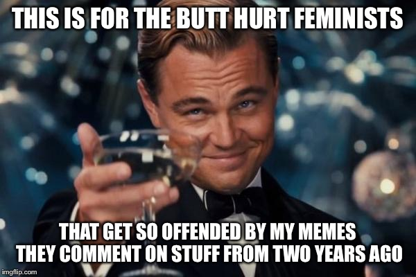 Leonardo Dicaprio Cheers Meme | THIS IS FOR THE BUTT HURT FEMINISTS THAT GET SO OFFENDED BY MY MEMES THEY COMMENT ON STUFF FROM TWO YEARS AGO | image tagged in memes,leonardo dicaprio cheers | made w/ Imgflip meme maker