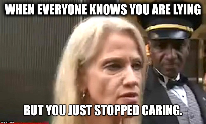 WHEN EVERYONE KNOWS YOU ARE LYING BUT YOU JUST STOPPED CARING. | image tagged in kellyanne | made w/ Imgflip meme maker