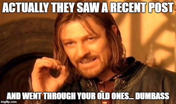 One Does Not Simply Meme | ACTUALLY THEY SAW A RECENT POST AND WENT THROUGH YOUR OLD ONES... DUMBASS | image tagged in memes,one does not simply | made w/ Imgflip meme maker