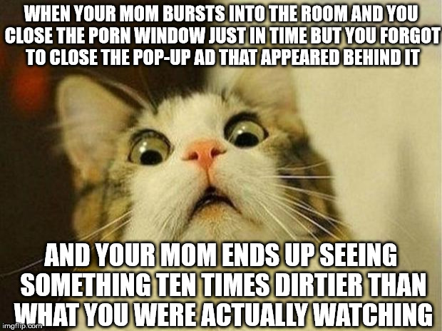 Happens to me all the time... | WHEN YOUR MOM BURSTS INTO THE ROOM AND YOU CLOSE THE PORN WINDOW JUST IN TIME BUT YOU FORGOT TO CLOSE THE POP-UP AD THAT APPEARED BEHIND IT  | image tagged in memes,scared cat,porn | made w/ Imgflip meme maker