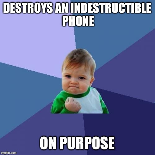Success Kid Meme | DESTROYS AN INDESTRUCTIBLE PHONE ON PURPOSE | image tagged in memes,success kid | made w/ Imgflip meme maker