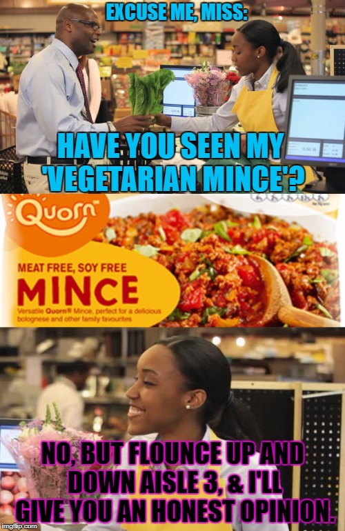 Snap! Oh no she di'n'. | EXCUSE ME, MISS: NO, BUT FLOUNCE UP AND DOWN AISLE 3, & I'LL GIVE YOU AN HONEST OPINION. HAVE YOU SEEN MY 'VEGETARIAN MINCE'? | image tagged in vegetarian | made w/ Imgflip meme maker