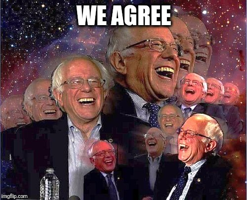 Bernie Laff | WE AGREE | image tagged in bernie laff | made w/ Imgflip meme maker
