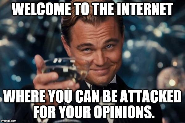 Leonardo Dicaprio Cheers Meme | WELCOME TO THE INTERNET WHERE YOU CAN BE ATTACKED FOR YOUR OPINIONS. | image tagged in memes,leonardo dicaprio cheers | made w/ Imgflip meme maker